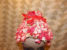 Vintage 1950's Red/White Floral Hat