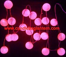 Pink Cotton Ball With Mains Plug Power Fairy Light String Fairy Lights