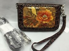 Debbie Brooks Wristlet Wallet Phone Brown Silver PAISLEY PEACH Cross Body New