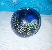"Vintage Mdina ART GLASS Malta Blue Paperweight BALL ""Snakeskin design"" Signed 3"""