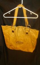 GUESS Extra Large Faux Leather Alligator/Reptile Print Shopper Handbag Tan