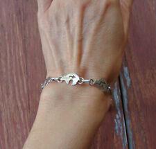 Navajo Heartline Bear Fetish Silver Link Bracelet