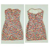Jack Wills Pink Floral Strapless Bardot 90s Y2k Fitted Short Pencil Dress Size 8