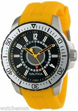 Nautica Unisex Black Dial NST Textured Yellow Band Date Watch N14663G