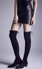 $798 STUART WEITZMAN MIDLAND ELEVATED BLACK SUEDE STRETCH OTK OVER KNEE BOOT 7.5