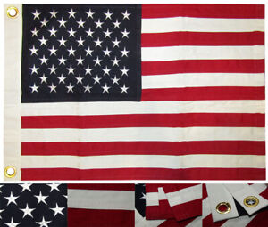 "16x24 USA American 50 Star 16""x24"" 100% Premium Cotton Flag With Grommets (RUF)"