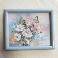 Original Painting: Butterflies And Flowers Oil Painting Signed Lilac Frame 10x12