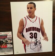 Stephen Curry Davidson College Golden State Warriors Signed Basketball Photo JSA