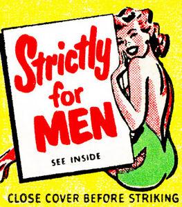 1950's - Strictly For Men - Matchbook Advertising Poster