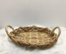 "Wicker Basket Tray Coffee Table Handles 17"" Long Serving"