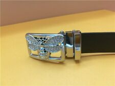 Round White Cz & 925 Sterling Silver Women's New Bee Design Belt Buckle With