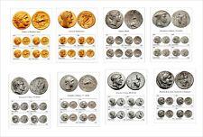 GREEK COINS PART 1      16 SOUVENIR SHEETS UNPERFORATED COIN GOLD SILVER