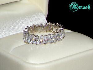 925 Silver Ring,wedding band-Full Eternity ring-4mm Baguette white sapphire..