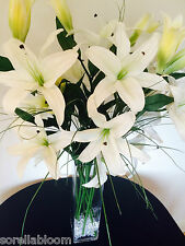 EXTRA LARGE PREMIUM IVORY LILIES & GRASS ARTIFICIAL FLOWERS ARRANGEMENT IN VASE