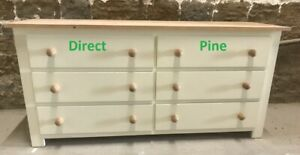 PINE SHAKER DOUBLE 6 DRAWER CHEST CREAM WITH ANTIQUE PINE TOP & HANDLES