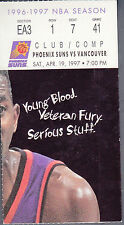 Phoenix Suns vs Vancouver Grizzlies April 19 1997 Ticket Stub Season Finale