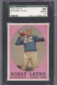 1958 Topps football card #2 Bobby Layne, Detroit Lions SGC 88 NMMT 8