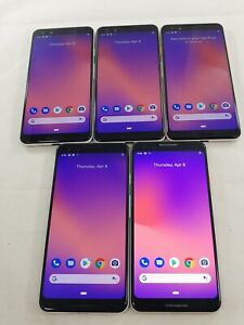 LOT of 5 Google Pixel 3 G013A 64GB GSM Unlocked Android Smartphone Black #A071L