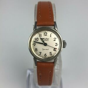 Wyler Womens Brown Leather Dyna Wind Incaflex Wind Up Watch