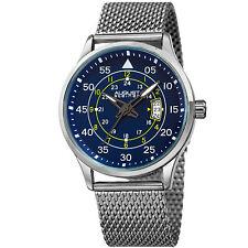 Men's August Steiner AS8223SSBU Three Hand Movement Date Mesh Bracelet Watch