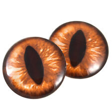 Pair of 40mm Amber Dragon or Cat Glass Eyes Cabochons Set - Art Dolls, Jewelry