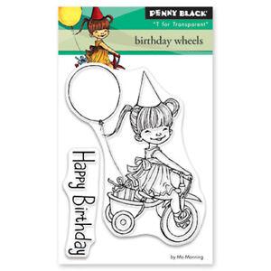 New Penny Black BIRTHDAY WHEELS Mini Clear Stamp Child Girl Happy Balloon Bike