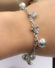 18k Solid White Gold Mix Charms Italy Bracelet, 6.75 Inches, 7.88 grams