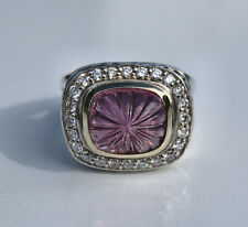 DAVID YURMAN STERLING SILVER & 18K GOLD CARVED PINK TOUMALINE RING WITH DIAMONDS