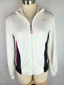 Nike Girls Youth Size L 12-14 Pink White Black Full Zip Up Track Jacket