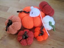 SIX HAND KNITTED AUTUMN PUMPKINS DISPLAY WITH A CUTE MOUSE. HALLOWEEN