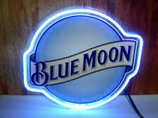 "New Blue Moon Neon Light Sign 17""x14"" Beer Pub Real Glass Gift Decor Bar"