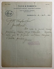 Antique Letterhead Taxis & Roberts Manufacturing Confectioners Phila PA 1907