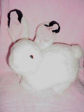 Vtg-Big Large Easter Bunny Rabbit-White Fur-Pink Black Ears-Stuffed Animal Toy
