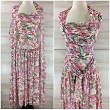 Vintage 80s 100% silk pink floral ruched full skirt retro party dress S M