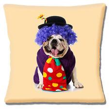 "BRAND NEW ENGLISH BULLDOG ADULT CUTE DRESSED AS CLOWN 16"" Pillow Cushion Cover"