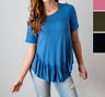 Women's Ruffle Hem Short Sleeves Tunic Tops Boho Solid Summer Blouses M-XL USA