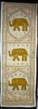 Indian Hippie Mustard Elephant Embroidered Vintage Table Runner Wall Tapestry