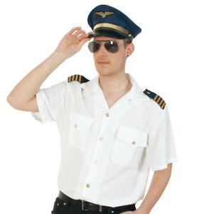 Herrenkostümset Pilot Hemd in weiß mit Mütze in blau und Pilotenbrille 12986013F