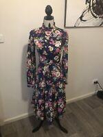 Vintage Lucy Saint Jean Dress Ruffle Collar Floral 70s Luxury OOAK  Size 10 Wow