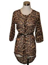 New Chiffon Shirt ~ Ladies S ~ Leopard Print 3/4 Sleeves ~ MBC