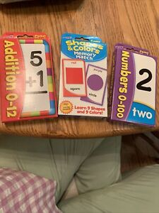 Lot of 3 Math Flash Cards, Add, Shapes, Numbers K-1
