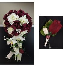 2pc: Burgundy and Ivory Cascade Bridal Bouquet &Boutonniere Artificial flowers