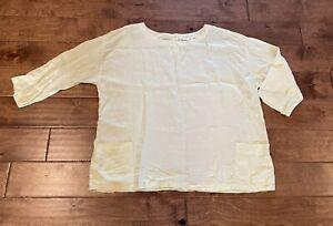 Eileen Fisher Lagenlook Linen Long Sleeve Pocket Boxy Shirt Top Yellow Sz L *EUC
