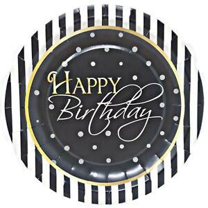 "Elegant Happy Birthday 7"" Dessert Paper Plates – 8 CT"