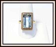 Vintage GIA Certified 18k Yellow Gold 9.75ct Aquamarine Ring