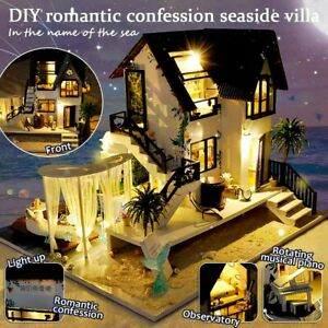 3D Dollhouse Wooden Miniature Doll Furniture Kits LED&Music DIY Birthda