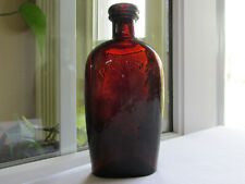 BRILLIANT RED AMBER HALF PINT PATENT FLASK WHITTLED & CRUDE!!