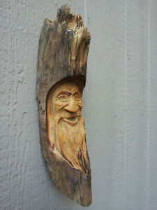 Wood Spirit Carvings Western Wizard Moon Crescent Bewitching Old Timber Forest