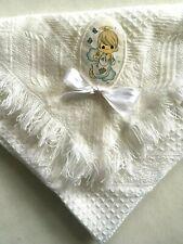 Precious Moments Vintage White Shawl Blanket Receiving Applique Crib Nap Time