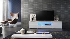 """White High Gloss Modern TV Stand Unit Media Entertainment Center """"Santiago V2"""""""